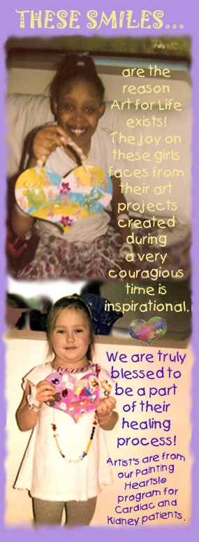 When you help us with a donation, you are helping amazing kids like those pictured here to use art as a part of their healing process.